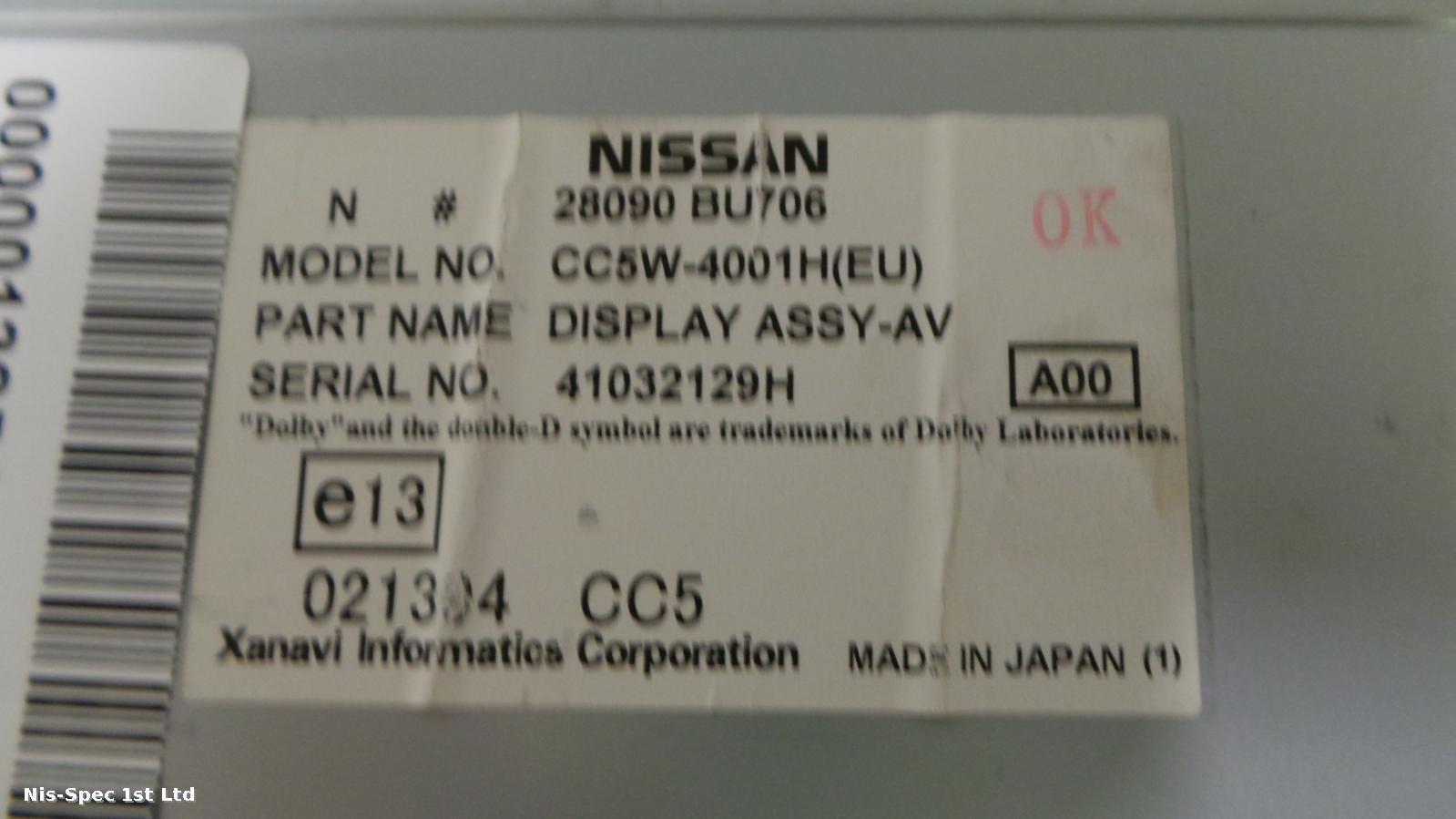 Nissan Almera Tino 02 - 06 Display Screen 28090 BU706