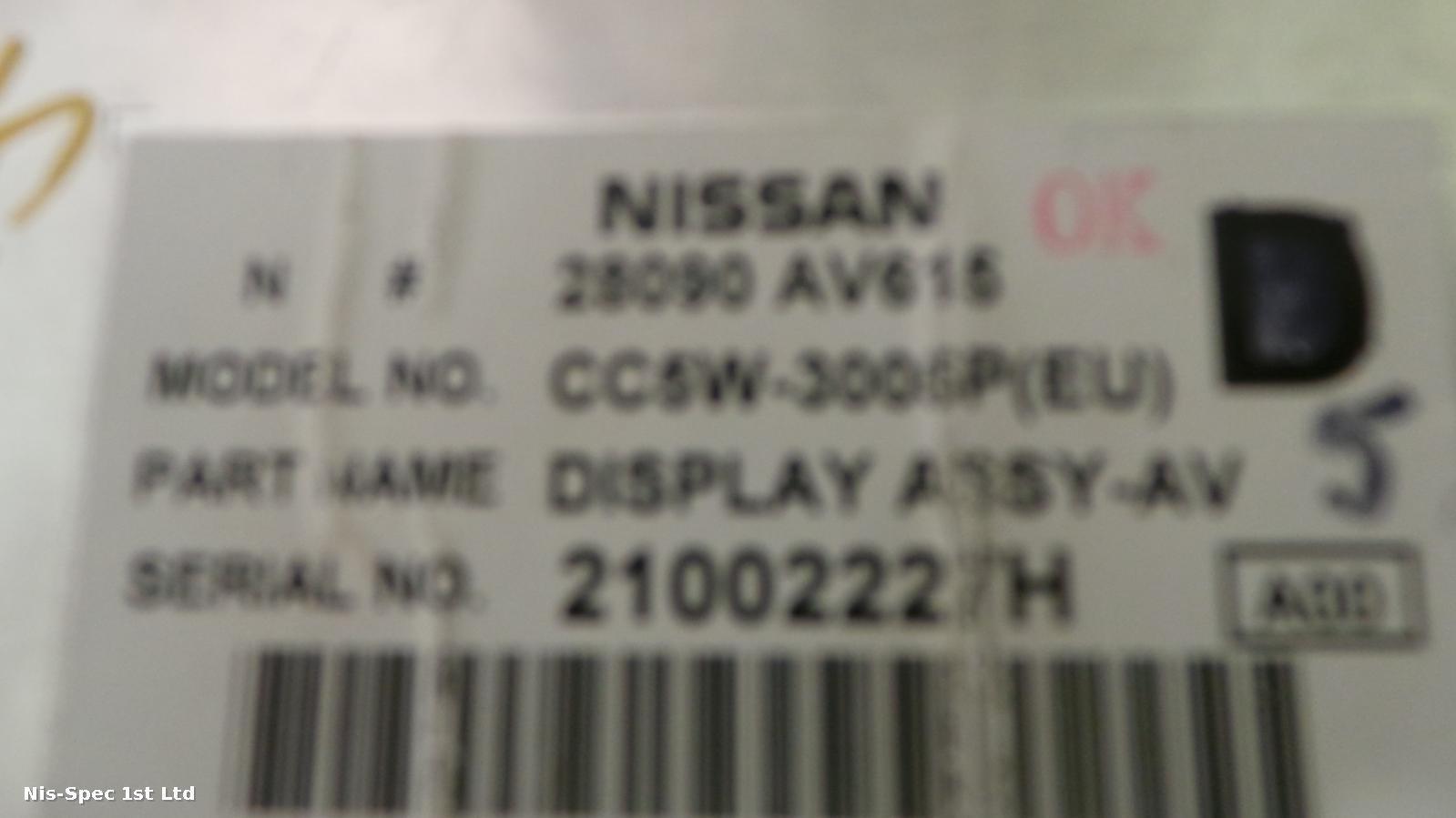 Nissan Primera P12 02 - 08 Display Screen 28090 AV615